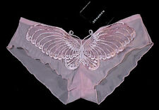 RAMPAGE Panty Hotpants BIG BUTTERFLY Embroidered PINK L NWT Soft Stretch Tulle!