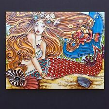 "Sexy Mermaid Hand-Painted Ceramic Art Tile 11x14"" Wall Artwork Ocean Beach C-358"