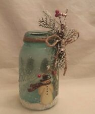 ANTIQUE BLUE BALL CANNING JAR Perfect Mason CHRISTMAS Hand Painted Snowman TREES