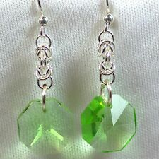 Silver Filled Chain Maille Earrings with Green Rivolis