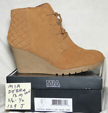 """3-1/2"""" wedge heel Size 13 M wide Mia DEBRA tan suede leather lace boots"""