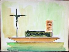Acquerello '900 su carta Watercolor Architettura futurista cubista razionale-105