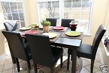 7pc Espresso Dining Room Kitchen Set Table & 6 Black Parson Chairs 7 piece NEW