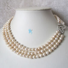 """17-19"""" 6-8mm 3Row White Freshwater Pearl Necklace Jewelry AC"""