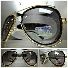 CLASSIC VINTAGE 70's RETRO Style FASHION SUNGLASSES Unique Gold & Tortoise Frame