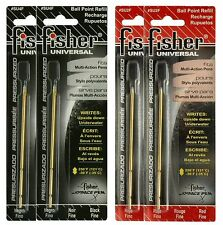 "Four Fisher Space Pen ""SU"" Series Universal Ink Refill Pack / 2 Black & 2 Red"