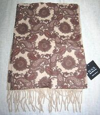 "NWT Saks Fifth Avenue ""Black"" Scarf Camel & Paisley 100% Cashmere 60"" x 11"" $200"