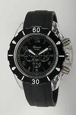 NEW Geneva Platinum 2123 Mens Clarion Clear Case Black Sillicone Band Watch 48mm