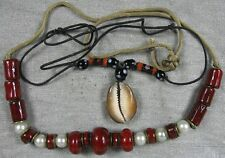 Lot of 2 Vintage Red Glass Beads & Shell Necklaces