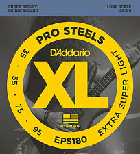 D'ADDARIO EPS180 XL PROSTEEL BASS STRINGS, EXTRA SUPER LIGHT GAUGE 4's, 35-95