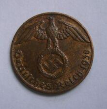 Germany, Third Reich 1 Reichspfennig 1938 (J), WW2, NAZI, Swastika