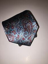 Oscar de la Renta, Paisley 100% Silk Neck Tie, Teal men's Tie, Made in USA