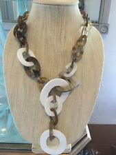 NWOT Beige And White Geometric Link Statement Necklace Anthropologie