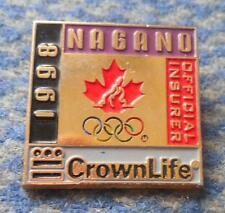 OLYMPIC NAGANO 1998 CROWNLIFE OFFICIAL INSURER TEAM CANADA PIN BADGE