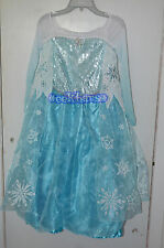 NWT 2014 Disney Store Authentic Frozen Elsa Costume Dress Gown Girls Size 9/10