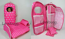 "Pink Hearts Carry Case w Bed Trunk Wardrobe Furniture for 18"" American Girl Doll"