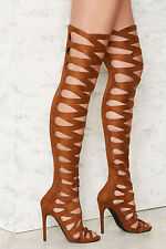 NEW NASTY GAL $150 BROWN PRIVILEGED OVER THE KNEE STILETTO BOOTS SHOES SZ 7