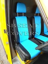 VW TRANSPORTER T4 VAN SEAT COVERS MADE TO MEASURE BLUE+BLACK LEATHERETTE