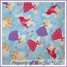 BonEful Fabric FQ Cotton Quilt Princess Unicorn Horse Fairy Star Pink Girl Dress