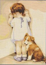 First Tantrum Girl and Dog Counted Cross Stitch Kit From Luca-S 15cm x 20cm