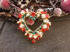 Brosche Weihnachten Kranz Herz Blumen Strass Anstecknadel Button Anstecker gold