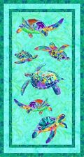"""Paintbrush Studio Calypso Turtles Quilt Fabric 24"""" x 44"""" Panel"""
