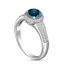 PLATINUM 1.37 CARAT ENHANCED FANCY BLUE DIAMOND ENGAGEMENT RING HALO PAVE