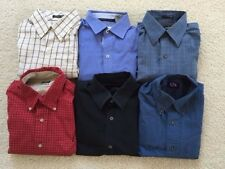 LOT OF 6 MEN'S SMALL BUTTON DOWN SHIRTS - BANANA REPUBLIC, HAGGAR, VAN HEUSEN