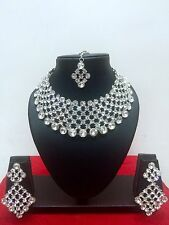 Indian Bollywood Style Rhodium Plated Bridal Fashion Jewelry Necklace Set