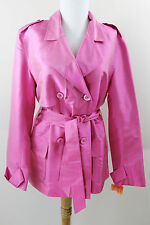 New Kenzie 100% Silk Button Jacket Blazer Belt Shirt Top Pink 10 Medium M $99