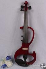 New 5 String 4/4 Electric violin Powerful Sound Big jack Red Violin Case #1646