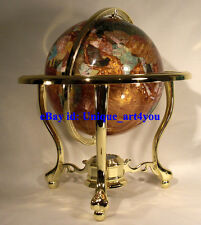 "14"" Amber Pearl Swirl Ocean 3- leg Gold table stand Gem Gemstone World MAP globe"