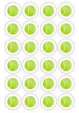 24 pelotas de tenis Comestible Oblea Arroz Toppers para Cupcake De Bola O Hada Cake Topper