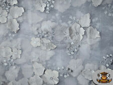 """Organza Floral Applique Fabric SILVER / 54"""" Wide / Sold by the yard"""