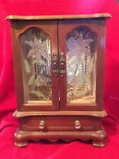 Large Wood Jewelry Box With Stained Glass Doors And Drawer
