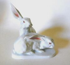 VINTAGE PAIR OF WHITE RABBITS BY HEREND, HUNGARY