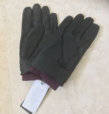 TED BAKER SMARTPHONE BLACK QUILTED NYLON AND LAMBSKIN CUFFED GLOVES SIZE S-M NEW