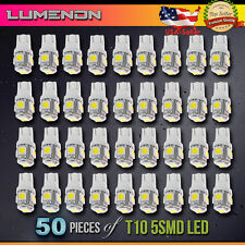 50 x T10 LED Wedge 5-SMD 6000k White 5050 Light bulbs 2825 158 192 168 194 6k w5