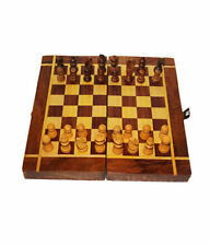 "Wooden Chess Board Box (folding) 8x8""  Natural Wood made carved Coins & Box"