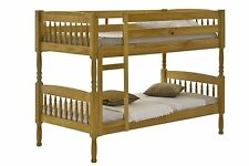 3ft Single All Wood Pine Milano bunk bed, Includes Slats, No Veener, Spindle