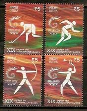 INDIA 2010 COMMONWEALTH GAMES HOCKEY ARCHERY TENNIS SET OF 4 STAMPS MNH