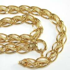 "14K Yellow Gold Elongated Rolo Abstract Chain Link Necklace 17"" QZ"