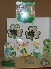 Vintage Lot St Patrick's Day Cardboard Die Cut Decorations