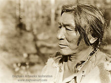Large Restored Reprint Vintage Native American Photo, Assiniboine Warrior Curtis