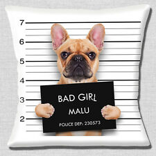 "FUNNY NOVELTY FAWN FRENCH BULLDOG BAD GIRL PHOTO PRINT 16"" Pillow Cushion Cover"
