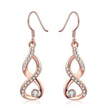 Women Dangle Earrings Plated 18K Rose Gold Crystal Fashion Jewelry LF