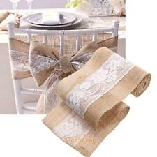Burlap Hessian Flower Lace Vintage Wedding Party Chair Sash Decor Table Runner