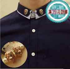 Wholesale 2pcs Charm Gold Lion Head Brooch Suit Shirt Collar Clip Lovers Jewelry