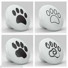 Set of 4 Paw Puppy Ceramic Knobs Pull Kitchen Drawer Cabinet  Vanity 234 Dresser
