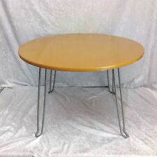 Vtg Yellow 24 Inch Round Table Deco Kitchy Folding Coffee Kids Sturdy